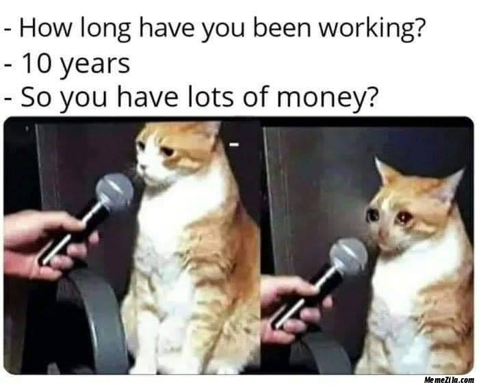 How long have you been working 10 years So you have lots of money meme