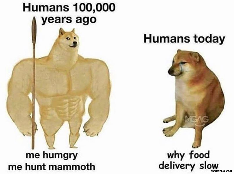 Humans 10000 years ago vs Humans today meme