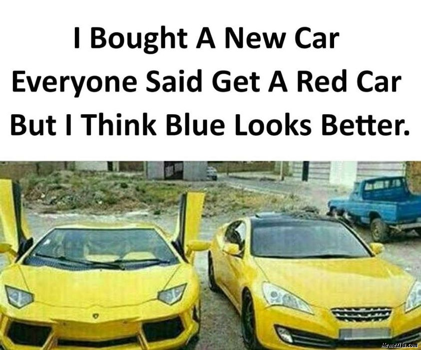 I bought a new car Everyone said get a red car But I think blue looks better meme