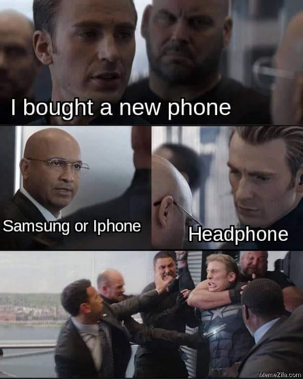 I bought a new phone Samsung or iphone Headphone meme