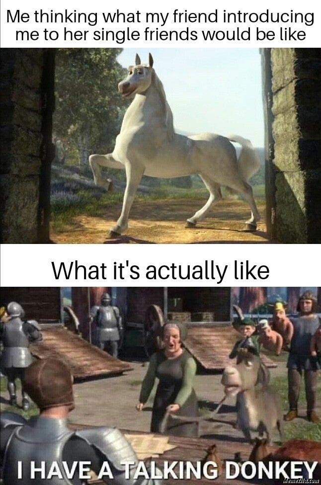 I have a talking donkey meme