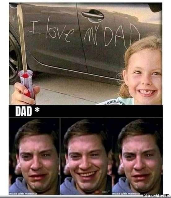 I love my dad scratch on car Meanwhile dad meme