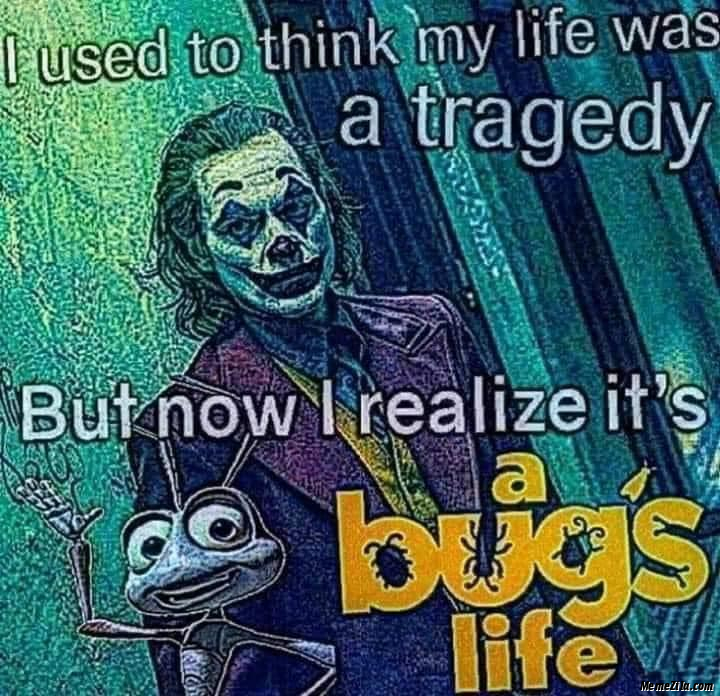 I used to think my life was a tragedy But now I realise its a bugs life meme