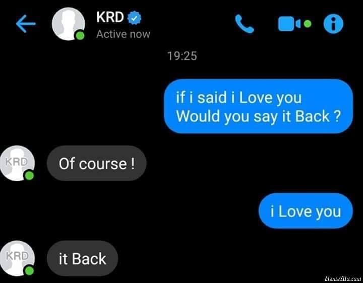 If I said I love you would you say it back meme