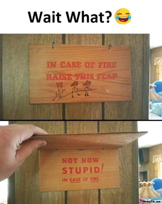 In case of fire raise the flap Not now stupid In case of fire Wait what meme