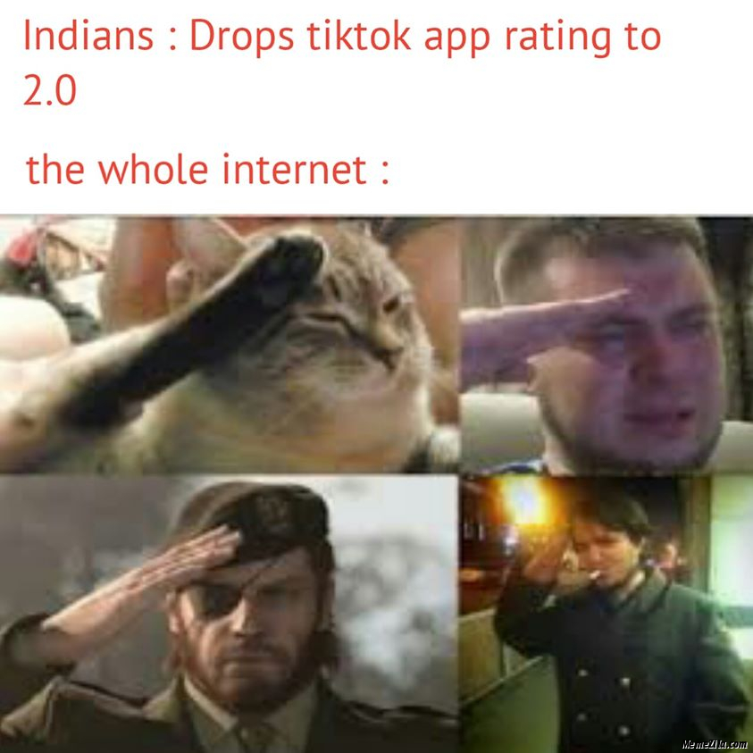 Indians Drops tiktok rating to 2.0 The whole internet meme