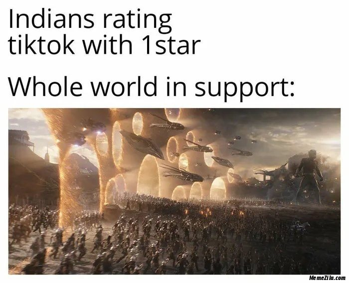 Indians rating tiktok with 1 star Whole world in support mean