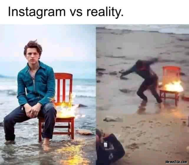Instagram vs reality meme