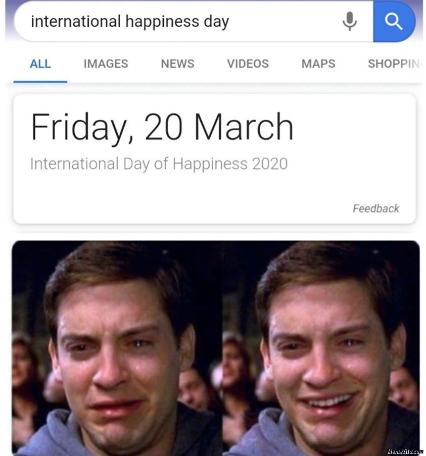 International happiness day Friday 20 march 2020 meme