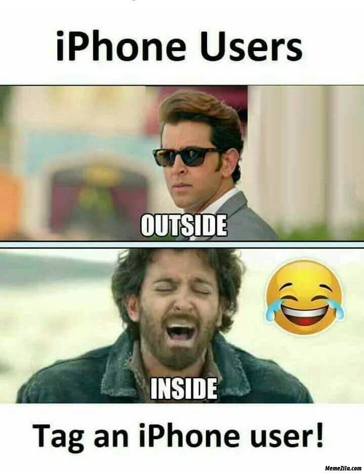 Iphone users outside vs inside meme