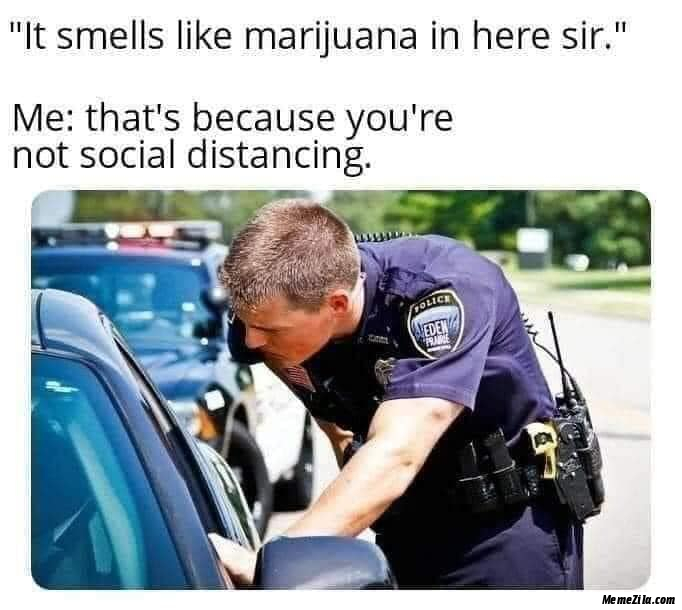 It smells like marijuana in here sir Thats because you are not social distancing meme