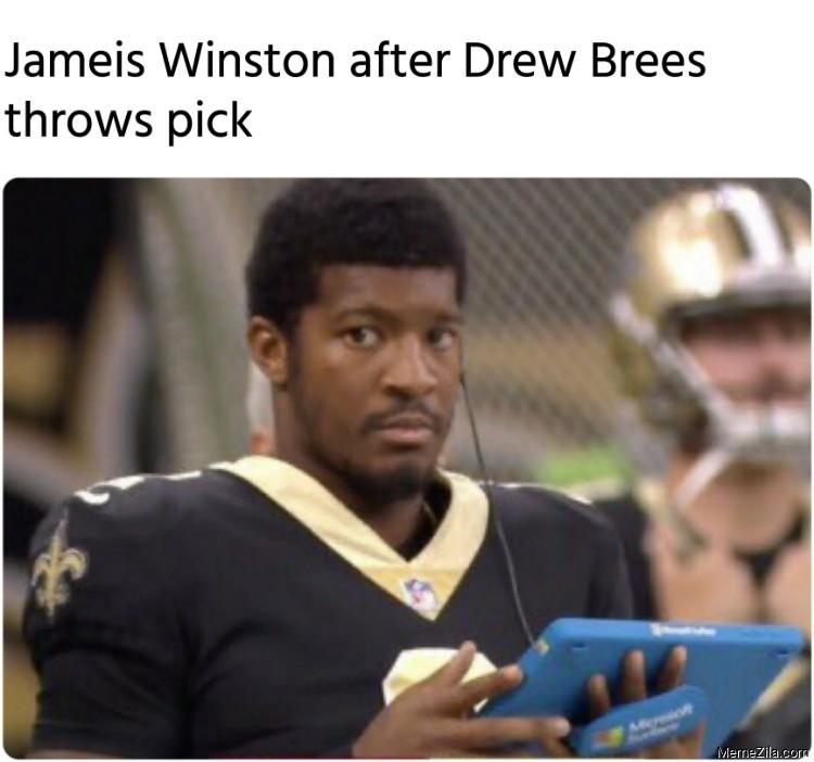 Jameis Winston after Drew Brees throws pick meme
