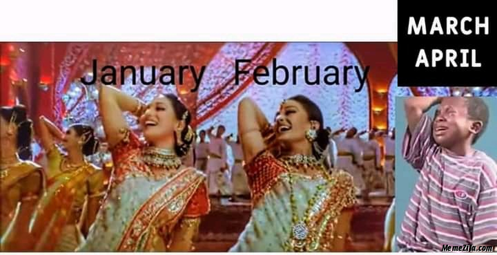 January february vs march april meme