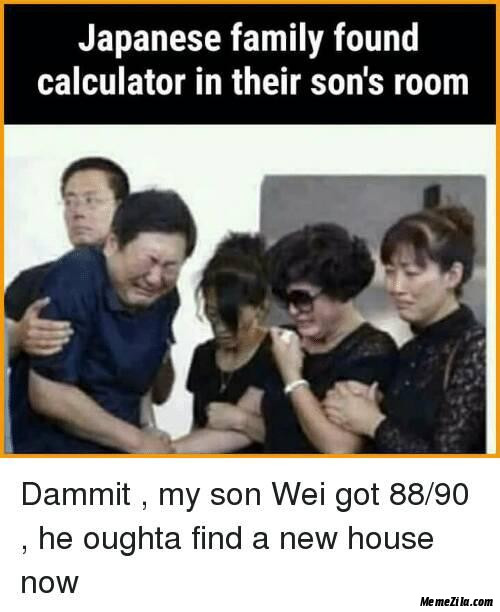 Japanese family found calculator in their sons room meme