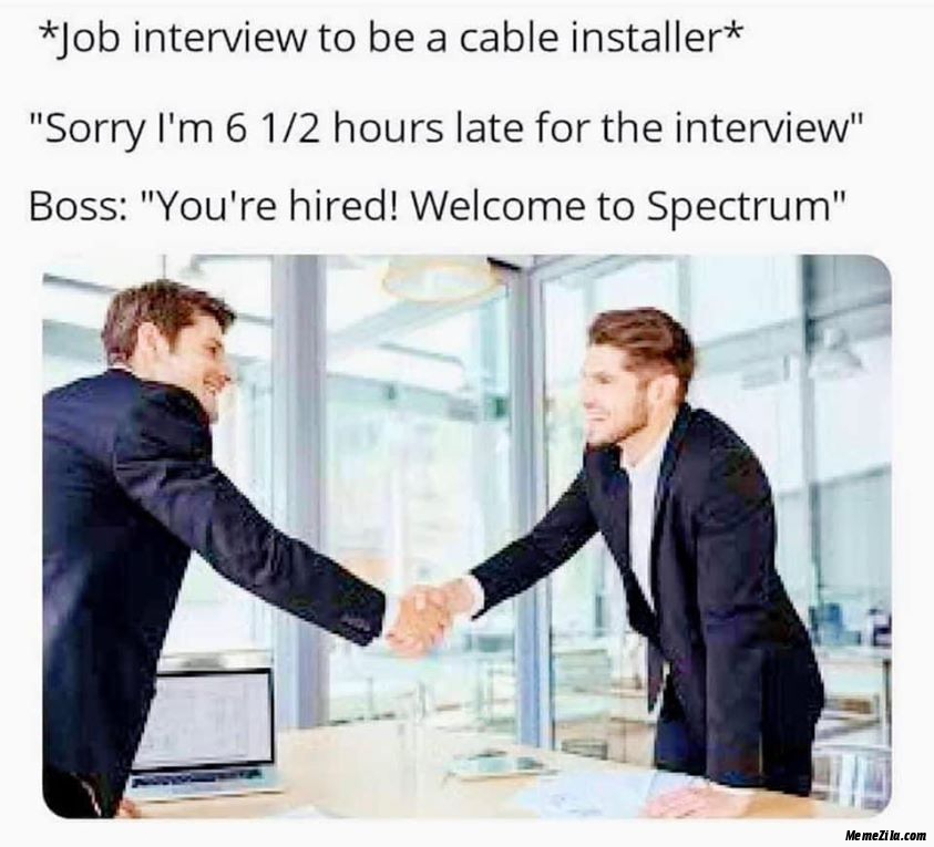 Job interview to be a cable installer meme