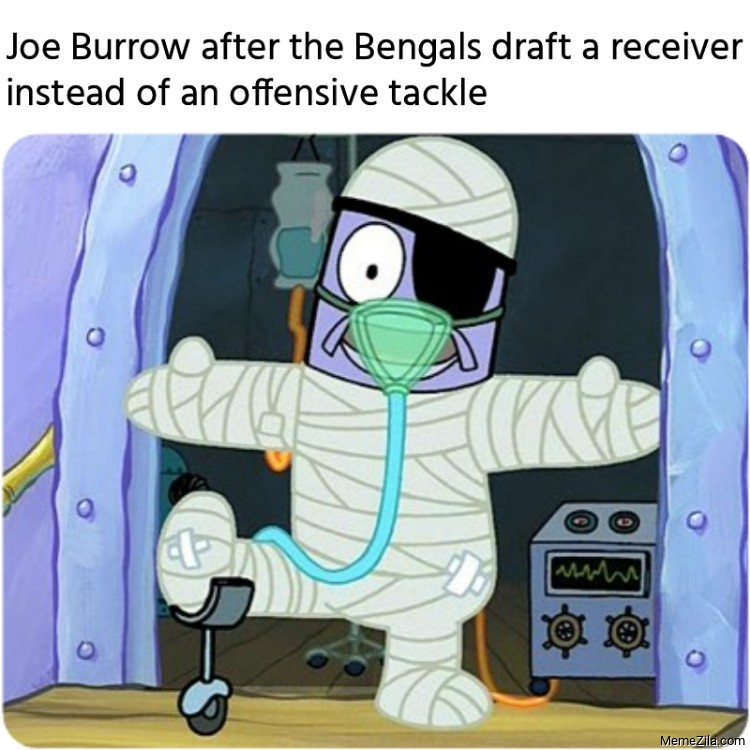 Joe Burrow after the Bengals draft a receiver instead of an offensive tackle meme