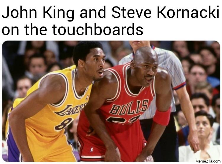 John King and Steve Kornacki on the touchboards meme