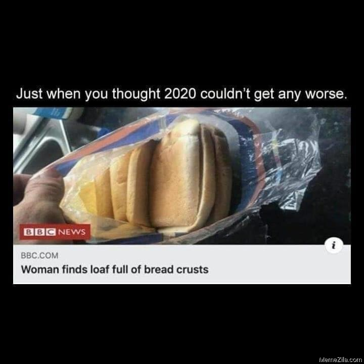 Just when you thought 2020 couldnt get any worse Woman finds loaf full of bread crusts meme