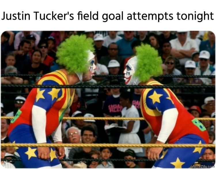 Justin Tuckers field goal attempts tonight meme