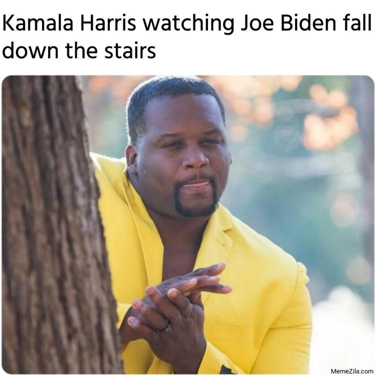 Kamala Harris watching Joe Biden fall down the stairs meme