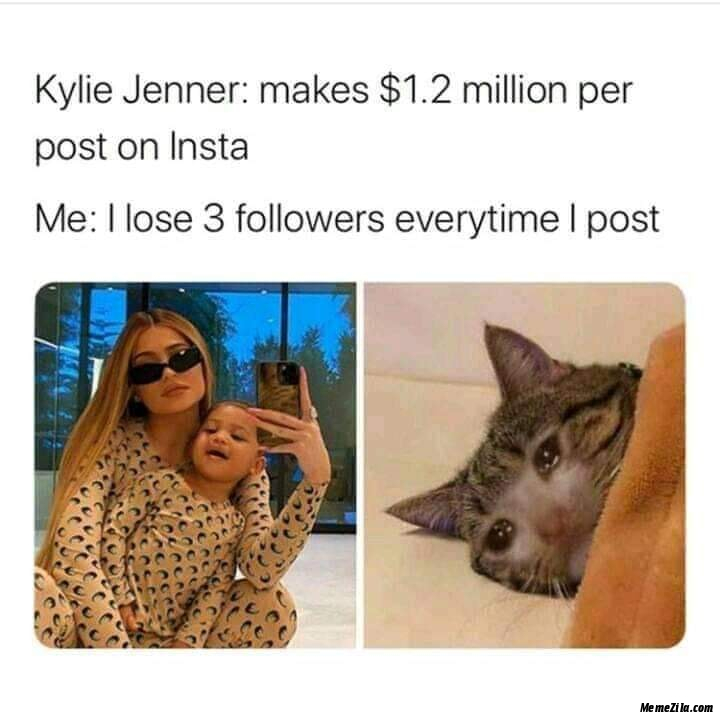 Kylie Jenner makes $1.2 million per post on insta Me lose 3 followers everytime I post meme