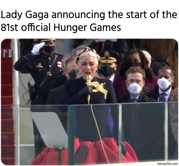 Lady Gaga announcing the start of the 81st official hunger games meme