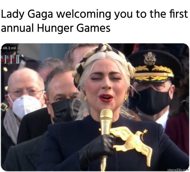 Lady Gaga welcoming you to the first annual Hunger Games meme