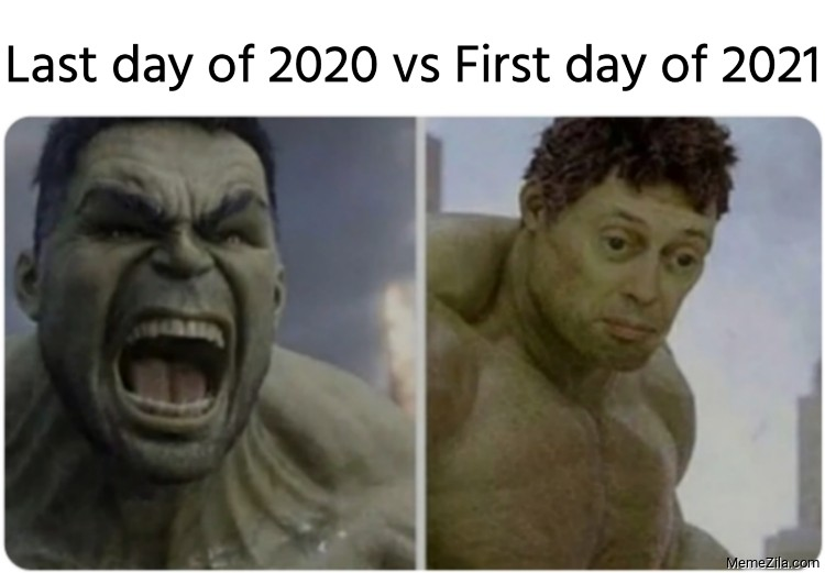 Last day of 2020 vs First day of 2021 meme