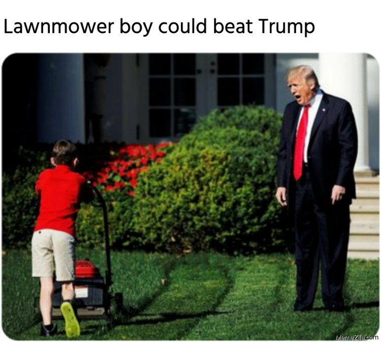 Lawnmower boy could beat Trump meme