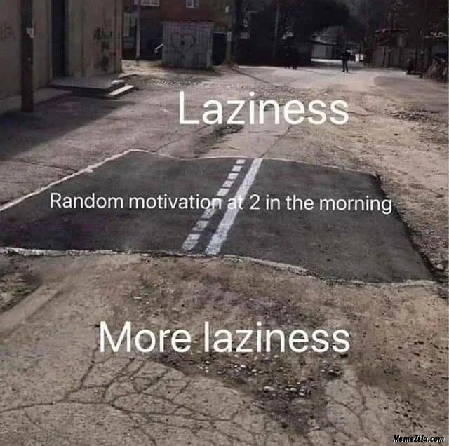 Laziness Random motivation at 2:00 am in the morning More laziness meme