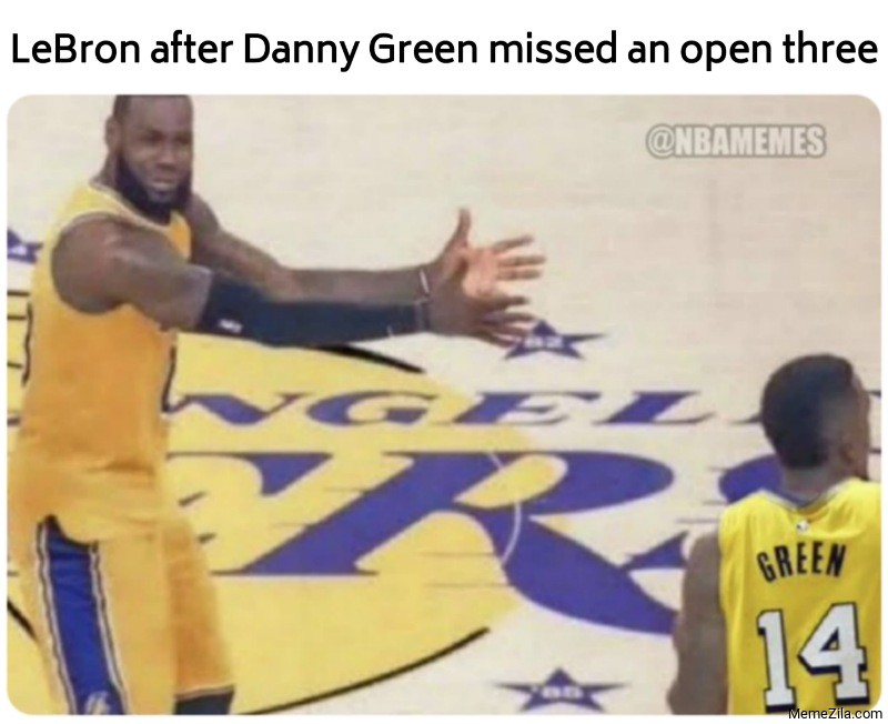 LeBron after Danny Green missed an open three meme