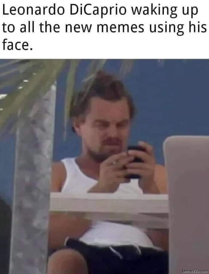 Leonardo DiCaprio waking up to all the new memes using his face meme