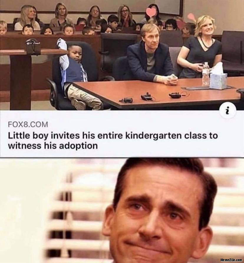 Little boy invites his entire Kindergarten class to witness his adoption meme