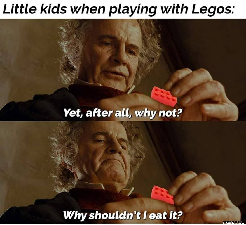 Little kids when playing with legos Why shouldnt I it eat meme