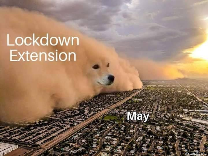 Lockdown extension vs May meme
