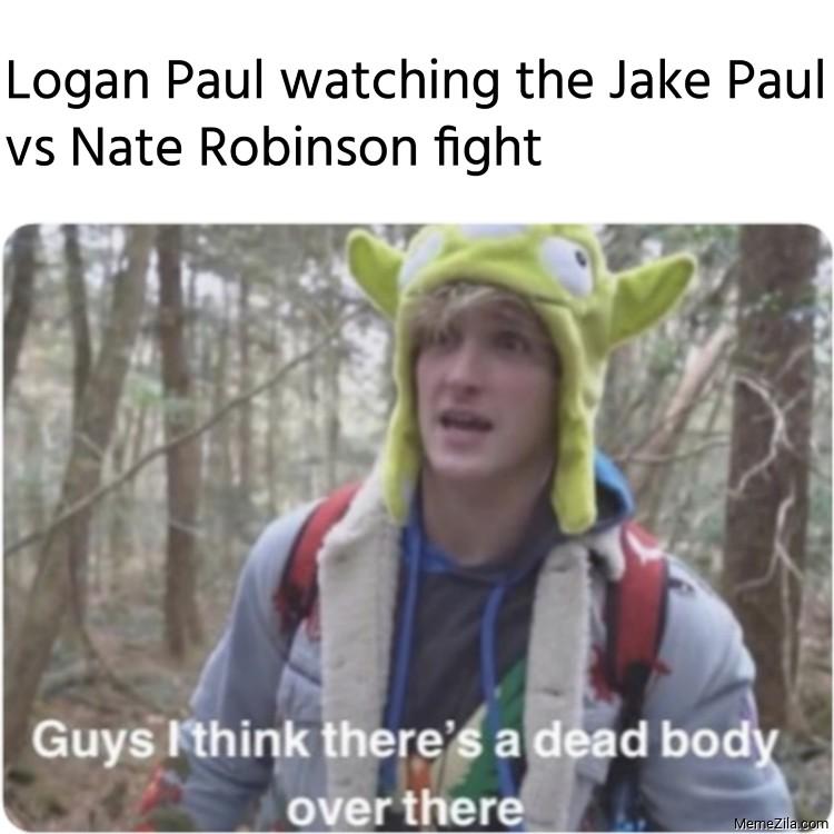 Logan Paul watching the Jake Paul vs Nate Robinson fight meme