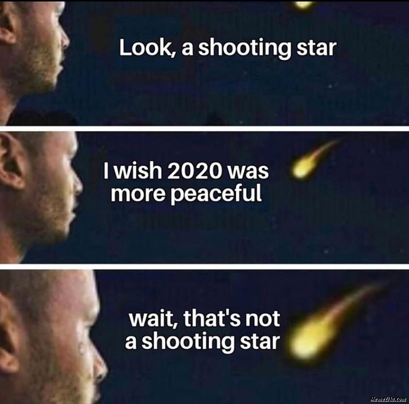 Look a shooting star I wish 2020 was more peaceful Wait thats not a shooting star meme
