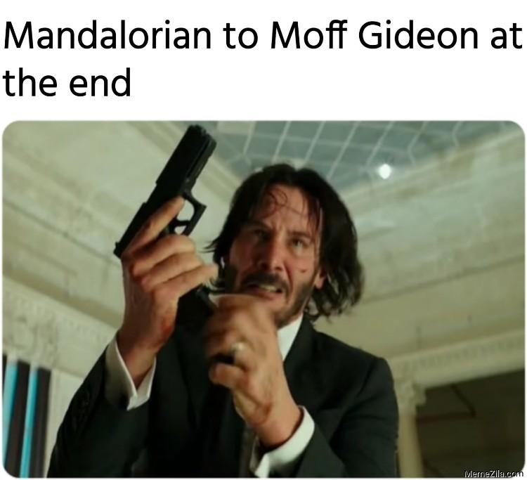 Mandalorian to Moff Gideon at the end meme