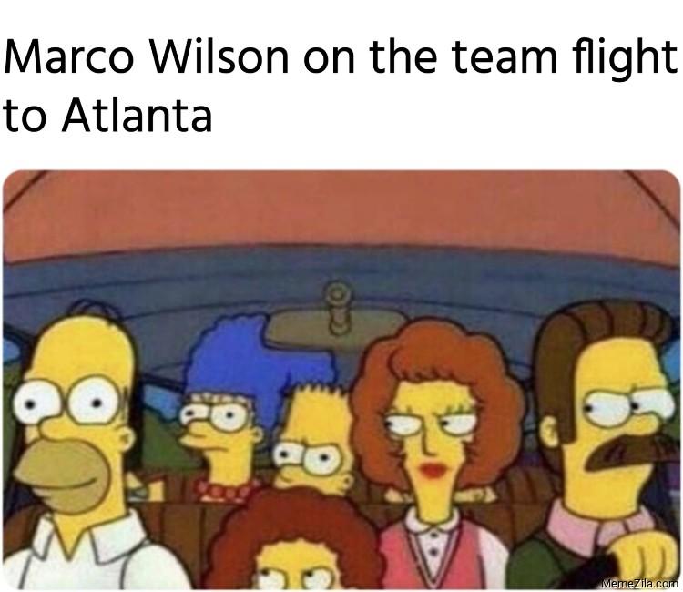 Marco Wilson on the team flight to Atlanta meme