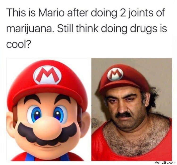 Mario after doing 2 joints of marijuana meme