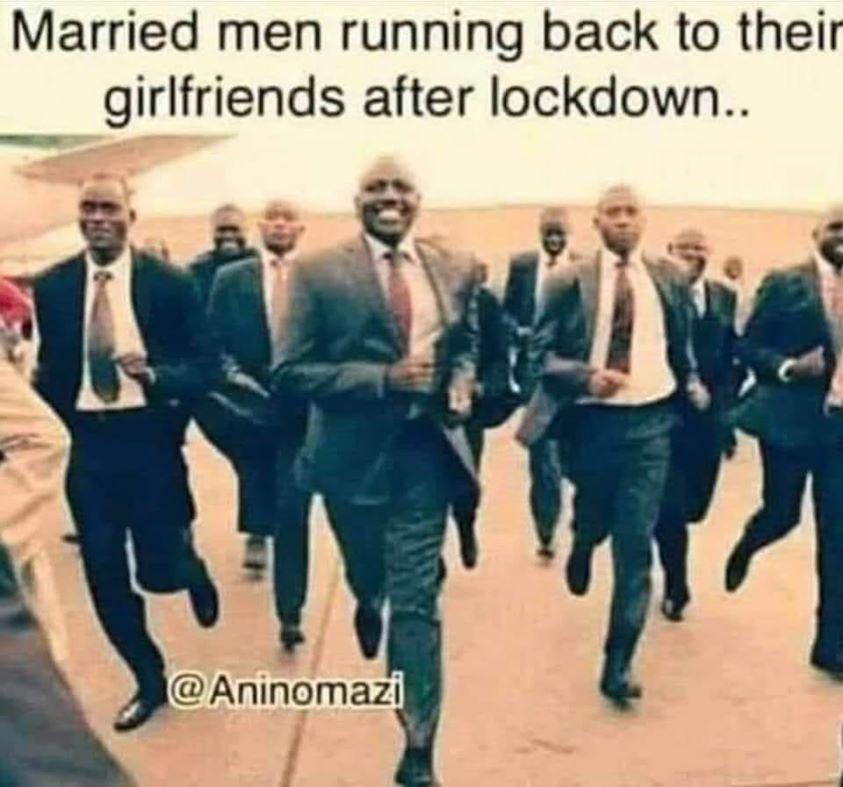 Married men running back to their girlfriends after lockdown meme