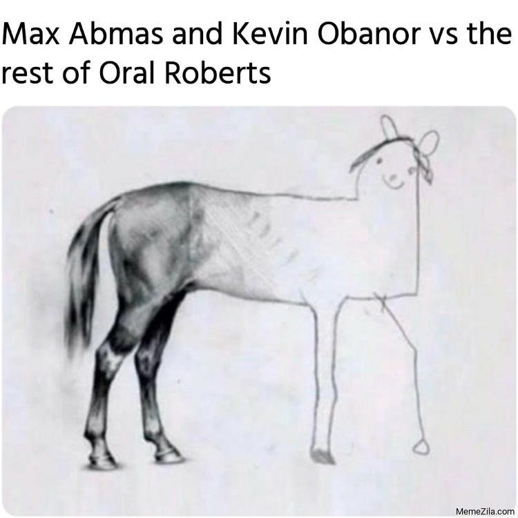 Max Abmas and Kevin Obanor vs the rest of Oral Roberts meme