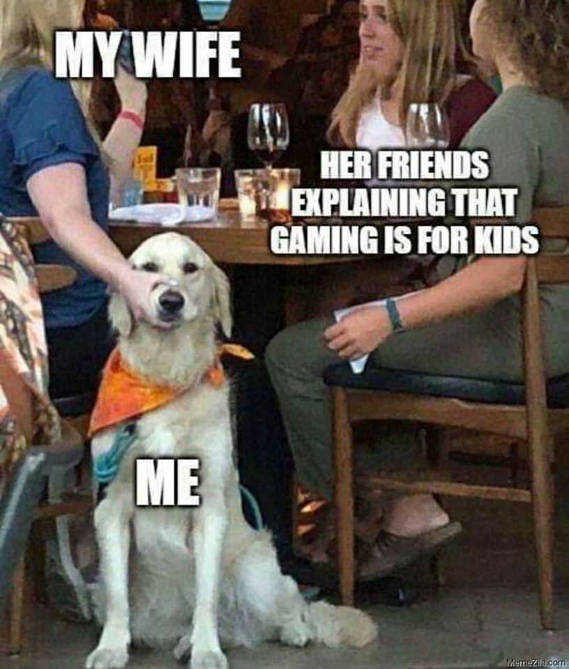 Me My wife Her friends explaining games are for kids meme