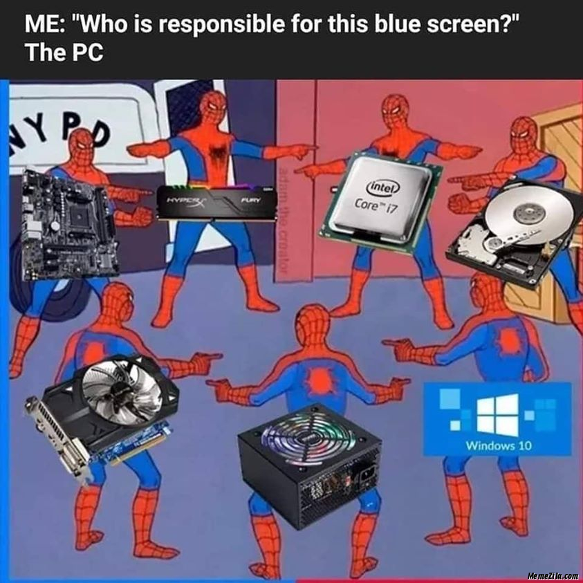 Me Who is responsible for this blue screen Meanwhile me meme
