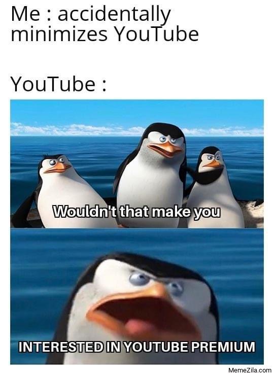 Me accidentally minimise youtube Meanwhile youtube meme
