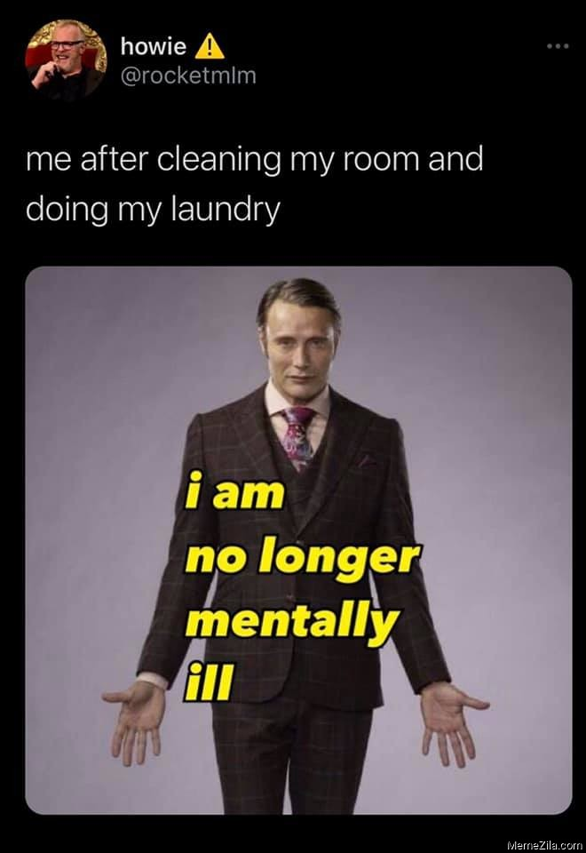 Me after cleaning my room and doing my laundry meme