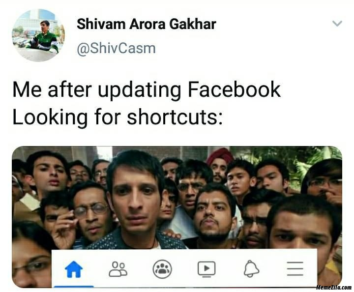 Me after updating facebook Looking for shortcuts meme
