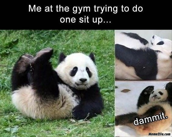 Me at the gym trying to do one sit up meme