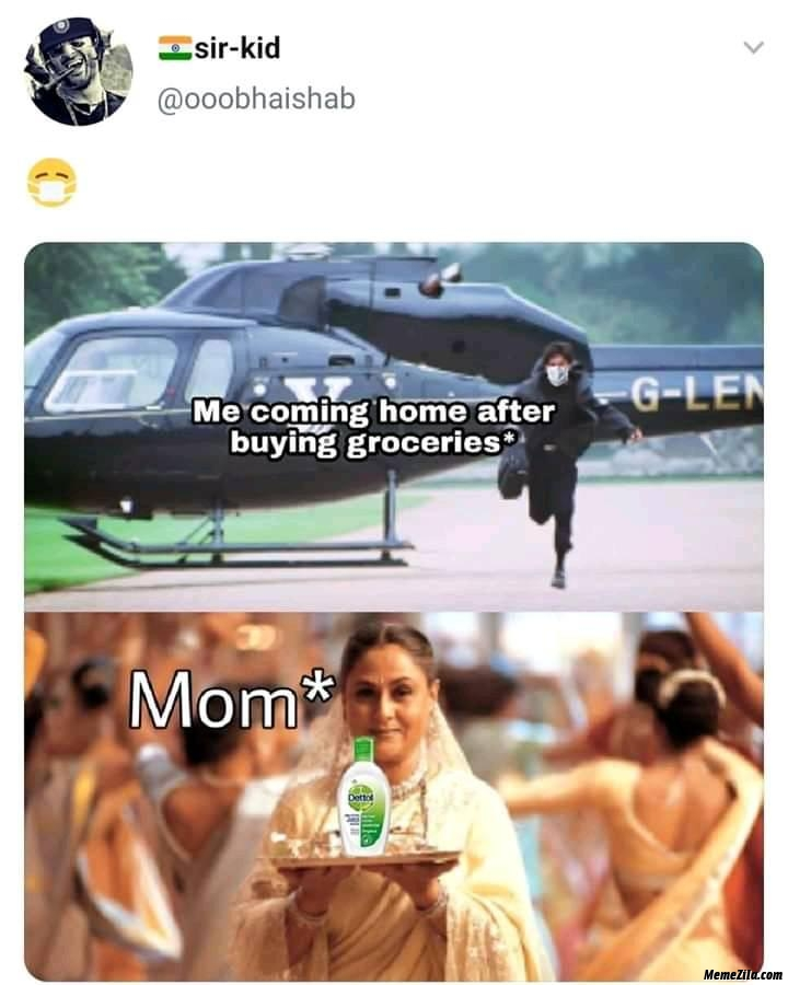 Me coming home after buying groceries meanwhile mom meme