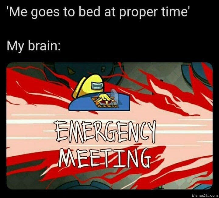 Me going to bed at proper time My brain Emergency meeting meme